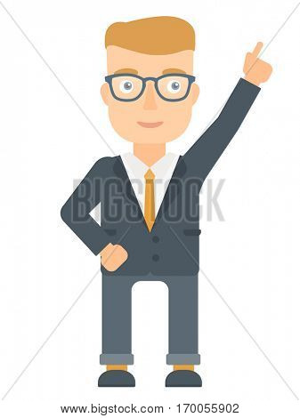 Caucasian businessman pointing up with his finger and having an idea. Young businessman came up with business idea. Business idea concept. Vector flat design illustration isolated on white background.