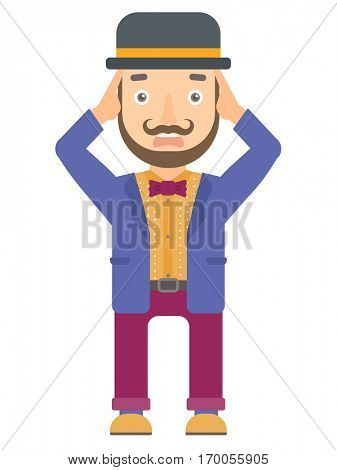 Scared caucasian circus performer. Scared hipster circus performer with beard clutching his head. Scared circus performer grabs his head. Vector flat design illustration isolated on white background.