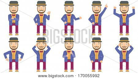 Caucasian smiling circus performer showing ok sign. Cheerful circus performer making ok sign. Circus performer gesturing ok sign. Set of vector flat design illustrations isolated on white background.