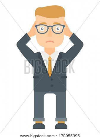 Caucasian stressed bankrupt businessman clutching his head. Worried bankrupt businessman grabs his head. Concept of business bankruptcy. Vector flat design illustration isolated on white background.
