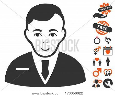 Businessman pictograph with bonus marriage pictograms. Vector illustration style is flat iconic symbols for web design app user interfaces.