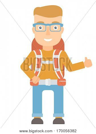 Smiling caucasian hiker with backpack giving thumbs up. Happy hiker showing thumbs up gesture. Cheerful hiker with thumb up gesture . Vector flat design illustration isolated on white background.