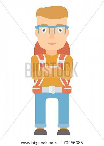 Young caucasian tourist standing with arms crossed. Confident tourist with folded arms. Cheerful tourist standing with folded arms. Vector flat design illustration isolated on white background.