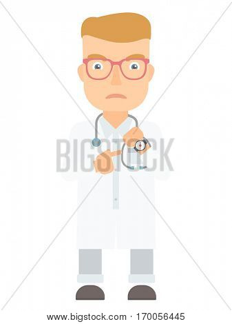 An angry caucasian head doctor pointing at wrist watch and time. Aggressive head doctor checking time of coming of latecomer employee. Vector flat design illustration isolated on white background.