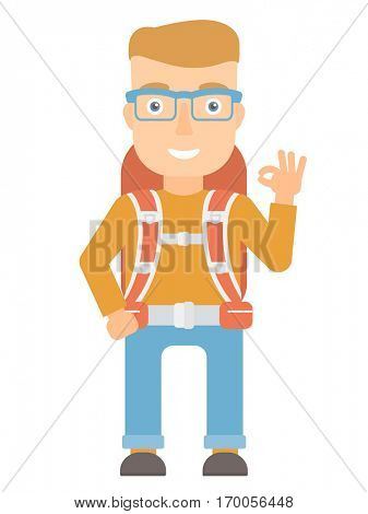 Happy backpacker showing ok sign. Smiling backpacker with backpack gesturing ok sign. Young caucasian backpacker with ok sign gesture. Vector flat design illustration isolated on white background.