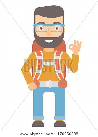 Happy backpacker showing ok sign. Hipster backpacker with backpack gesturing ok sign. Young caucasian backpacker with ok sign gesture. Vector flat design illustration isolated on white background.