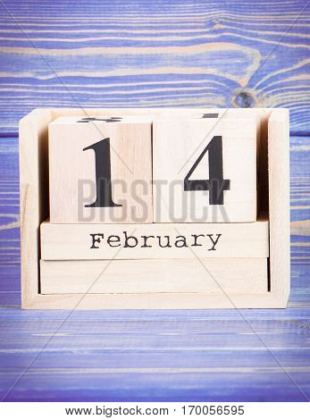 February 14Th. Date Of 14 February On Wooden Cube Calendar