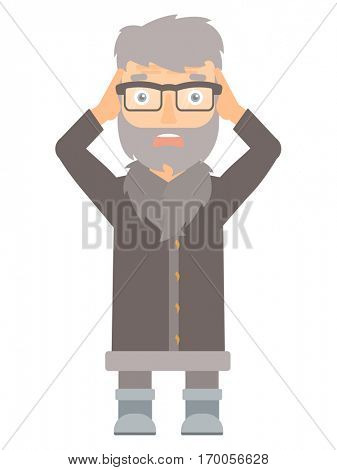 Scared north man wearing warm winter clothing. Scared hipster north man with the beard clutching his head. Scared north man grabs his head. Vector flat design illustration isolated on white background