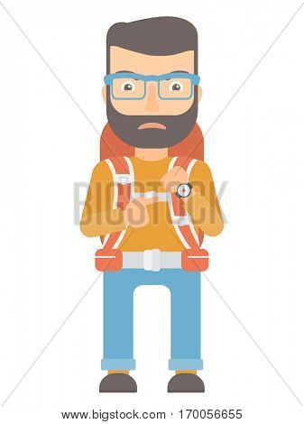 Angry caucasian backpacker pointing at wrist watch. Annoyed backpacker pointing at watches and time. Anxious backpacker checking the time. Vector flat design illustration isolated on white background.
