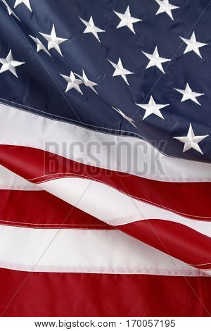 Closeup of stars and stripes American flag