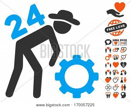 Nonstop Working Person pictograph with bonus love design elements. Vector illustration style is flat iconic elements for web design app user interfaces.