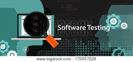 software testing looking closer close-up to the source code script to find bug vector