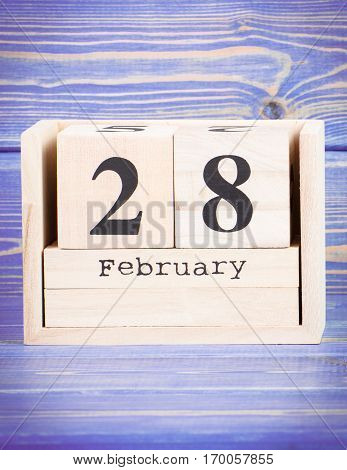 February 28Th. Date Of 28 February On Wooden Cube Calendar
