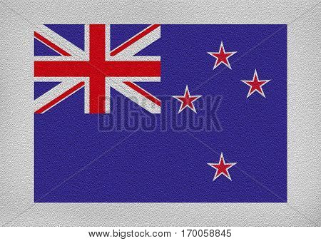 Newzealand international flag on the leather texture