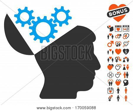 Open Mind Gears pictograph with bonus marriage pictograms. Vector illustration style is flat iconic symbols for web design app user interfaces.