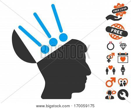 Open Mind Interface pictograph with bonus passion design elements. Vector illustration style is flat iconic elements for web design app user interfaces.