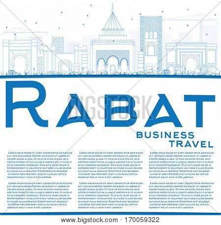 Outline Rabat Skyline with Blue Buildings and Copy Space. Vector Illustration. Business Travel and Tourism Concept with Historic Architecture. Image for Presentation Banner Placard and Web Site