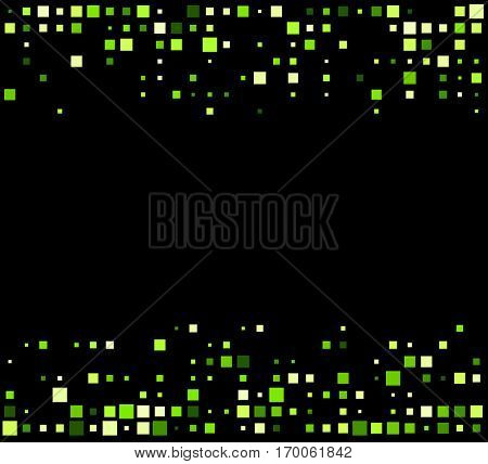 Black abstract background with green squares. Vector illustration.