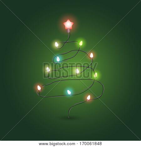 Christmas Greeting card vector template. Abstract christmas tree with lightbulbs