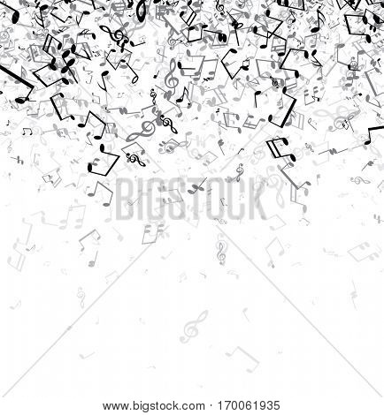 White musical background with gray notes. Vector paper illustration.