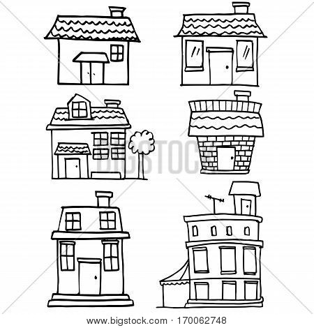 Illustration of house hand draw collection stock