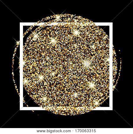 Black festive golden luminous sandy background. Vector illustration.