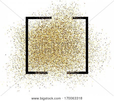 White abstract sandy background with black frame. Vector illustration.