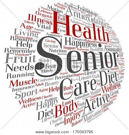 Vector concept conceptual old senior health, care or elderly people abstract word cloud isolated on background, metaphor to healthcare, illness, medicine, assistance, help, treatment, active or happy