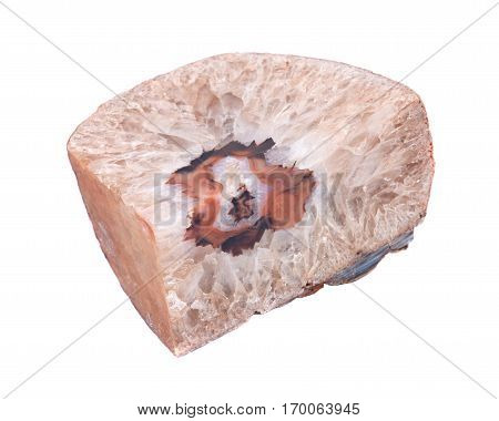 Light brown natural crystal agate geode bookend polished on isolated on white background