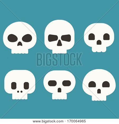 Flat skull vector set