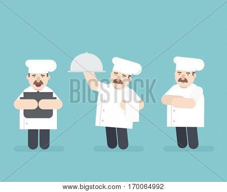 chief cook set. flat vector character