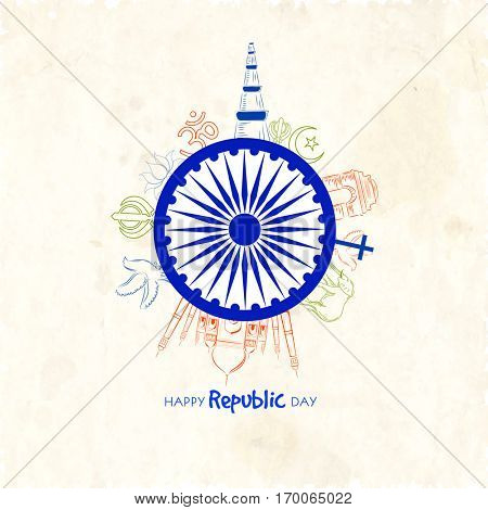Happy Republic Day celebration Poster, Banner design with illustration of Ashoka Wheel and Famous Indian Monuments and Symbols.