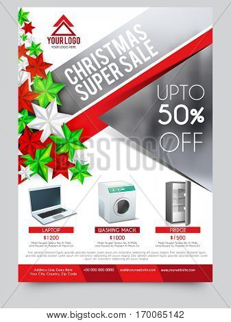 Christmas Super Sale with Upto 50% Off, Creative Promotional Poster, Banner or Flyer design.