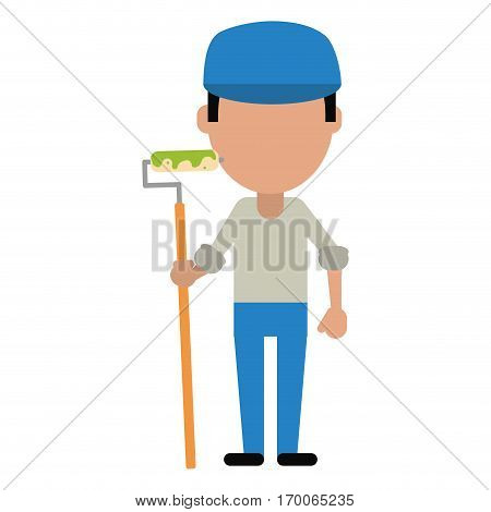 man painter with roller and cap vector illustration eps 10
