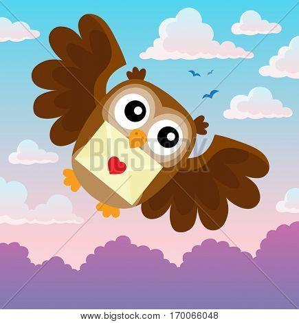 Valentine owl topic image 1 - eps10 vector illustration.