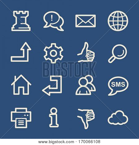 Web and internet, cloud and social media, folder and print, like and dislike web vector icons set