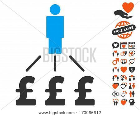 Person Pound Expenses icon with bonus love graphic icons. Vector illustration style is flat iconic elements for web design app user interfaces.