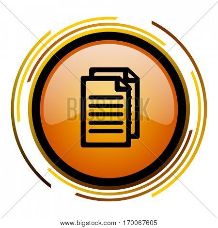 Document sign vector icon. Modern design round orange button isolated on white square background for web and application designers in eps10.