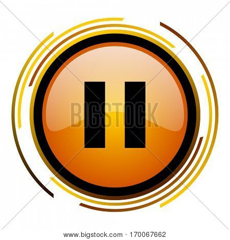Pause sign vector icon. Modern design round orange button isolated on white square background for web and application designers in eps10.