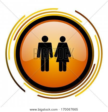 Heterosexual sign vector icon. Modern design round orange button isolated on white square background for web and application designers in eps10.