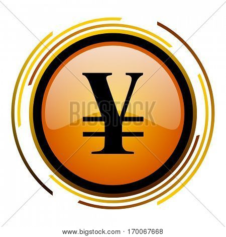 Japan yen sign vector icon. Modern design round orange button isolated on white square background for web and application designers in eps10.