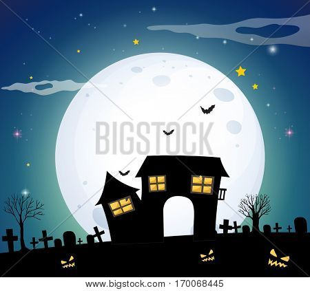 Haunted house in the field on fullmoon night illustration