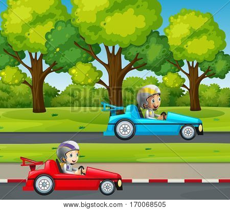 Two kids racing car in the park illustration