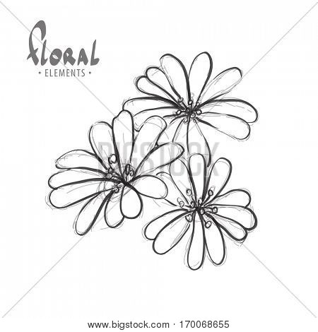 Flowers on a white background with space for greetings