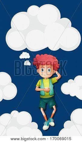 Boy on fluffy clouds background illustration