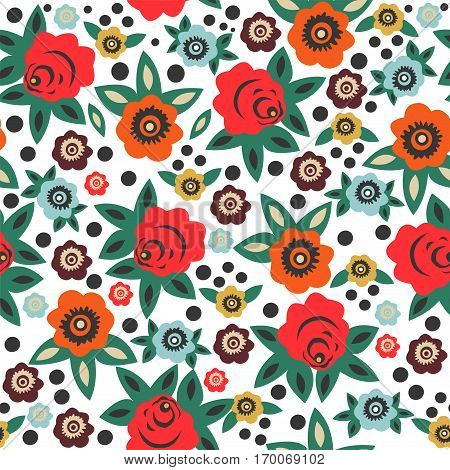 Floral seamless pattern in Slavic style. Vector.
