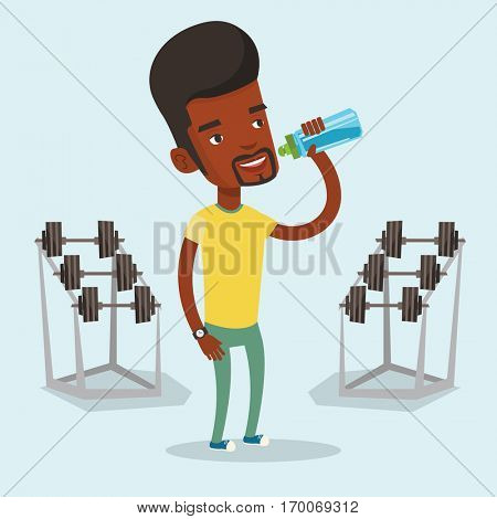 An african-american sportsman drinking water. Sportsman with bottle of water in the gym. Sportsman drinking water from the bottle. Vector flat design illustration. Square layout.