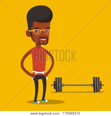 An african-american man measuring his waistline with a tape. Man measuring with tape the abdomen. Happy man with tape on a waist standing near a barbell. Vector flat design illustration. Square layout
