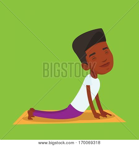 An african-american young sportsman practicing yoga upward dog pose. Sportsman meditating in yoga upward dog position. Sporty man doing yoga on the mat. Vector flat design illustration. Square layout.