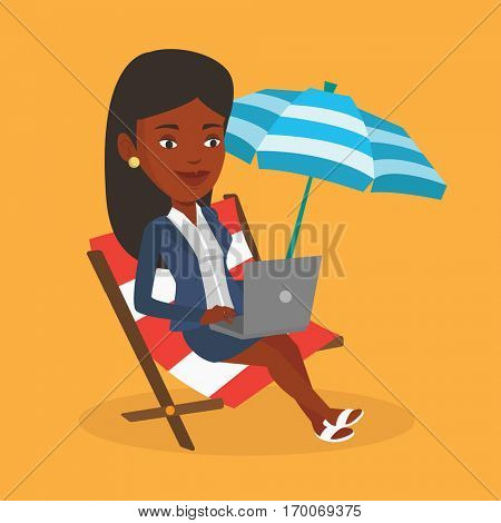 An african business woman working on the beach. Business woman sitting in chaise lounge under beach umbrella. Business woman using laptop on the beach. Vector flat design illustration. Square layout.